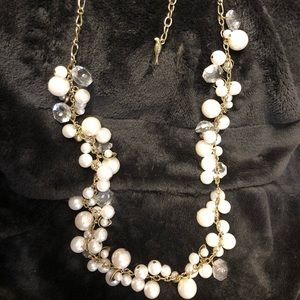 Pearl and Crystal Drops Long Necklace C+I
